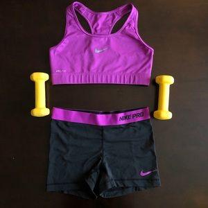 Nike Pro Sports Bra and Matching Shorts Set